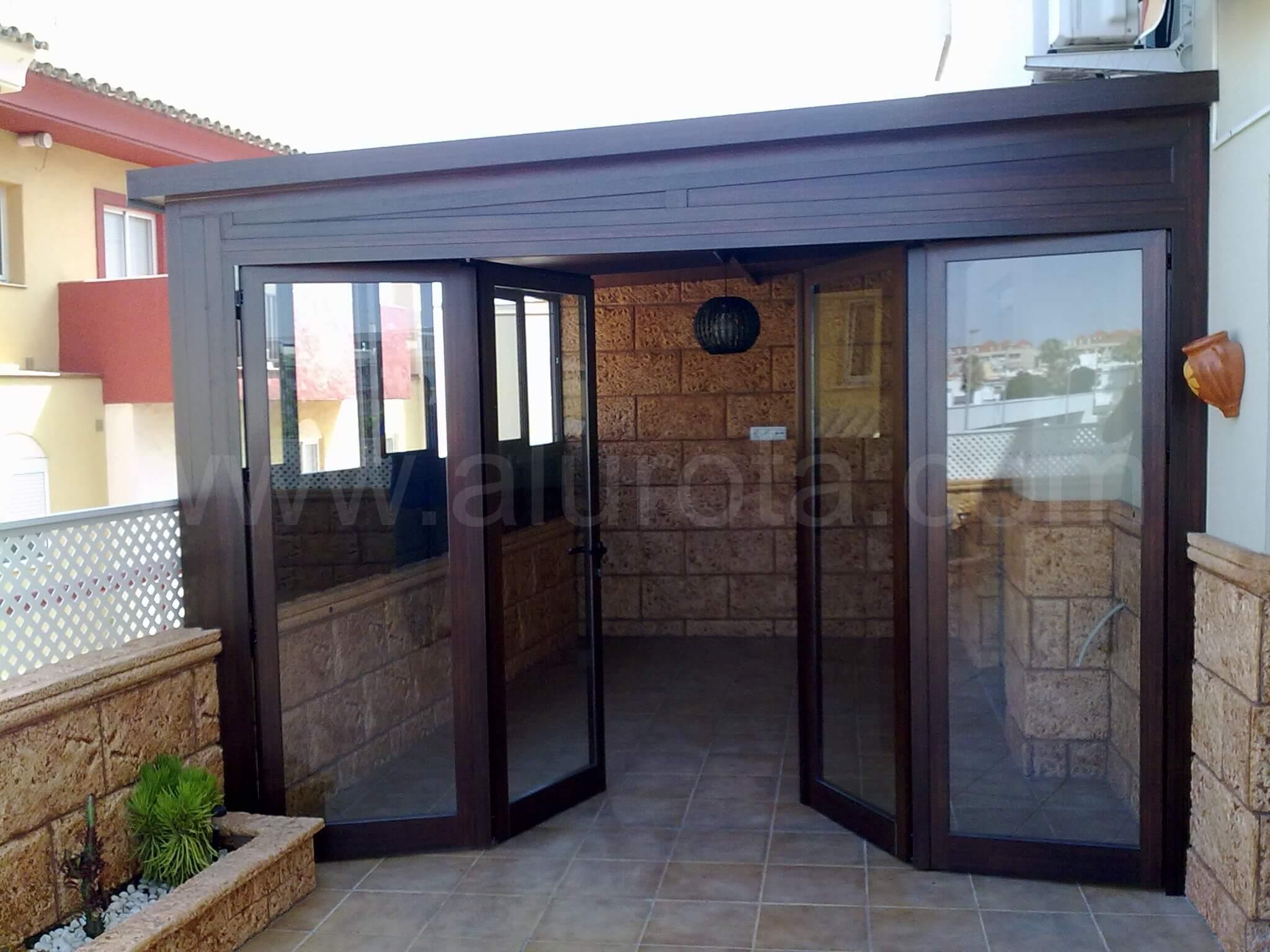 Instalaci n cerramiento terraza aluminio en nogal en rota for Cerramientos de jardines fotos